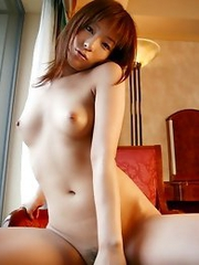 Sexy and lovely Japanese av idol Akane Mochida shows her sexy pussy in the hotel