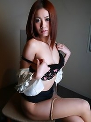 Horny and slutty Japanese av idol Hana Yoshida dresses up as an office lady and have sex