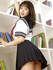 Sexy japan teen Nana Nanaumi in school uniform showing nice tits