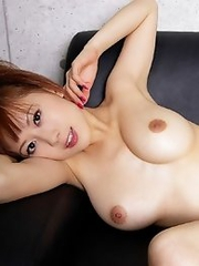 Redhead japanese girl Shun Aika shows her big tits