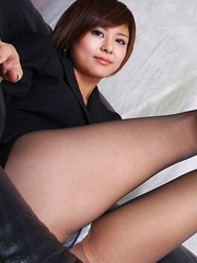 Miho Kotosaki in office suit shows sexy legs in pantyhose